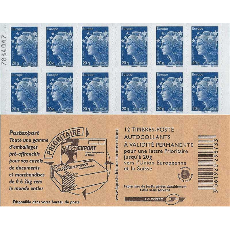 Carnet Postexport  2011 de 12 TVP bleus légendés 20g Europe