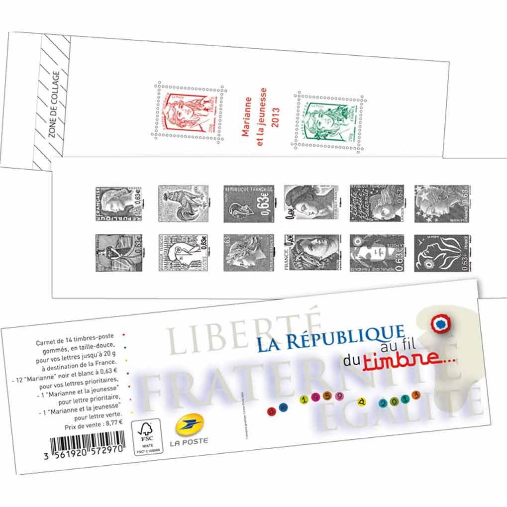 2013 Marianne  - La Ve République au fi l du timbre de 1959 à 2013