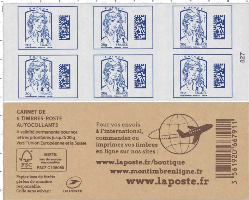 Carnet Marianne Europe - Code Datamatrix