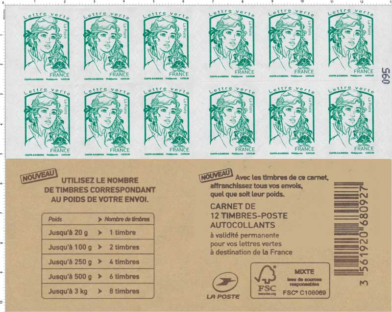 timbre 2016 carnet couverture pub nouveaux tarifs lettre verte france wikitimbres. Black Bedroom Furniture Sets. Home Design Ideas