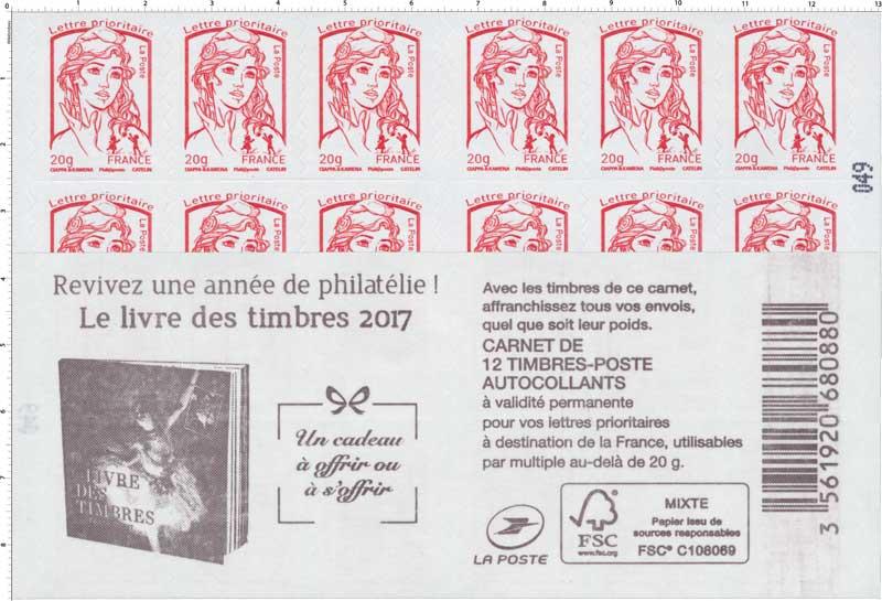 Carnet Le livre des timbres 2017