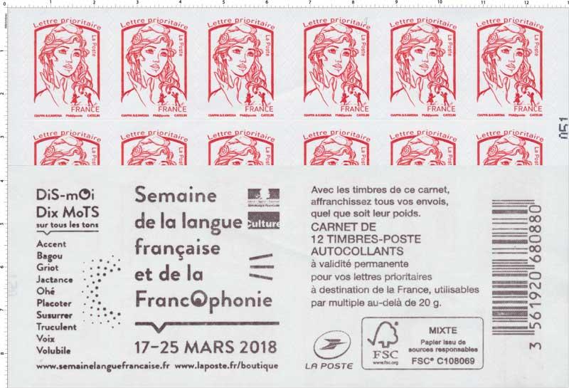 2018 Carnet SEMAINE DE LA LANGUE FRANCAISE ET DE LA FRANCOPHONIE