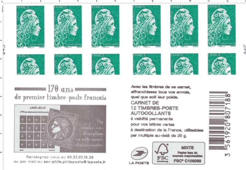 2019 170 ans du premier timbre-poste française - La Cérès noire