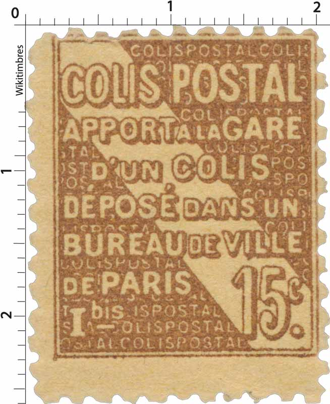 COLIS POSTAL apport à la gare d'un colis déposé dans un bureau de ville de Paris