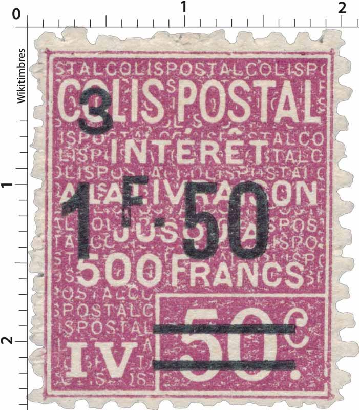 COLIS POSTAL intérêt à la livraison jusqu'à 500 Francs