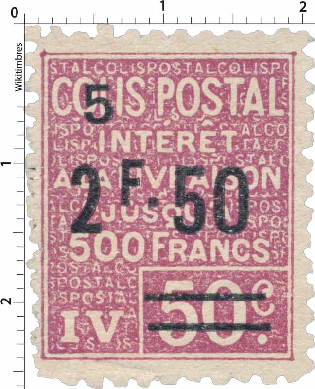 COLIS POSTAL INTÉRÊT A LA LIVRAISON JUSQU'À 500 FRANCS