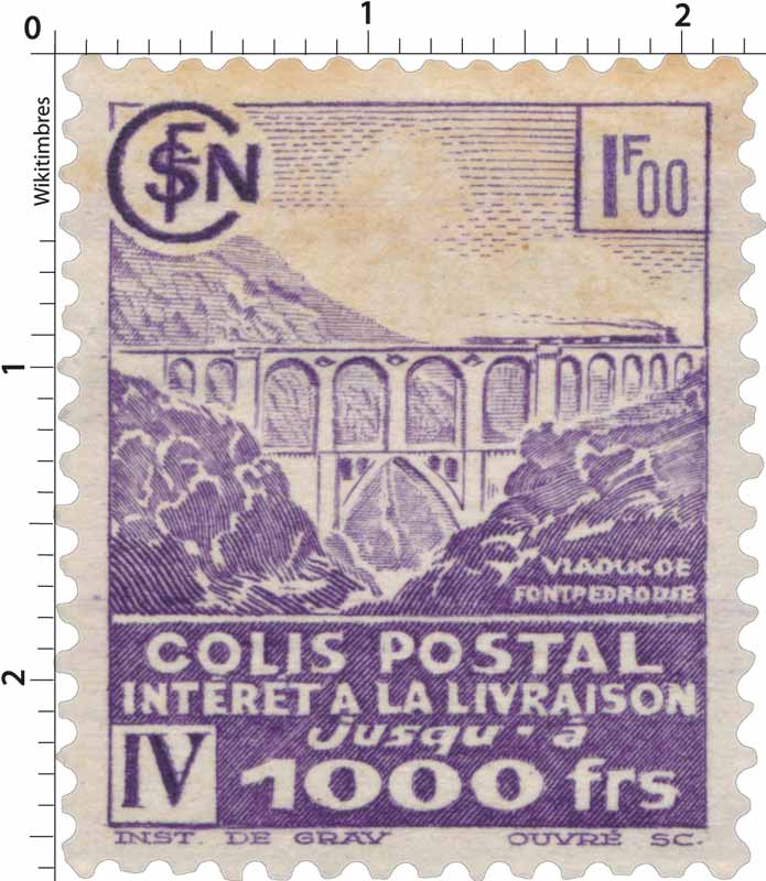 COLIS POSTAL intérêt à la livraison jusqu'à 1000 frs