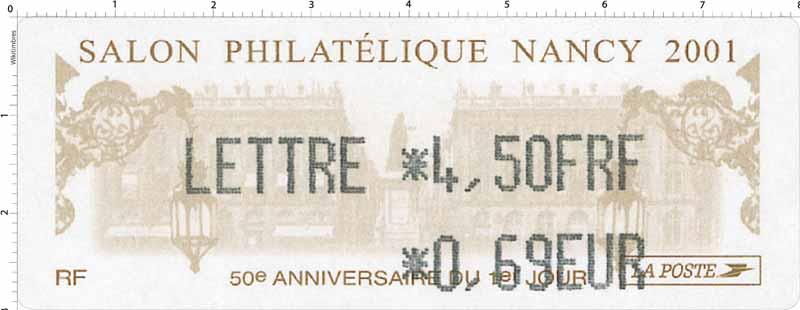 2001 SALON PHILATÉLIQUE NANCY 50e ANNIVERSAIRE DU 1ER JOUR