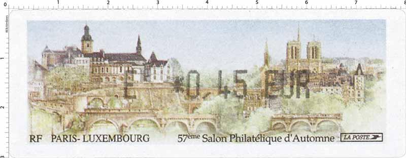 57e SALON PHILATÉLIQUE D'AUTOMNE PARIS - Luxembourg