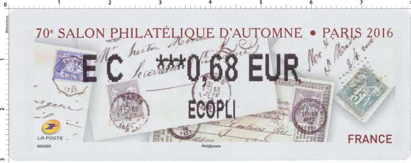 70e SALON PHILATELIQUE D'AUTOMNE. PARIS 2016