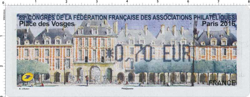 89e congrès de la Fédération Française des Associations Philatéliques Paris  2016