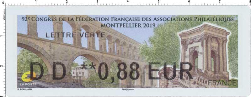 2019  92e Congrès de la fédération française des associations philatéliques - Montpellier