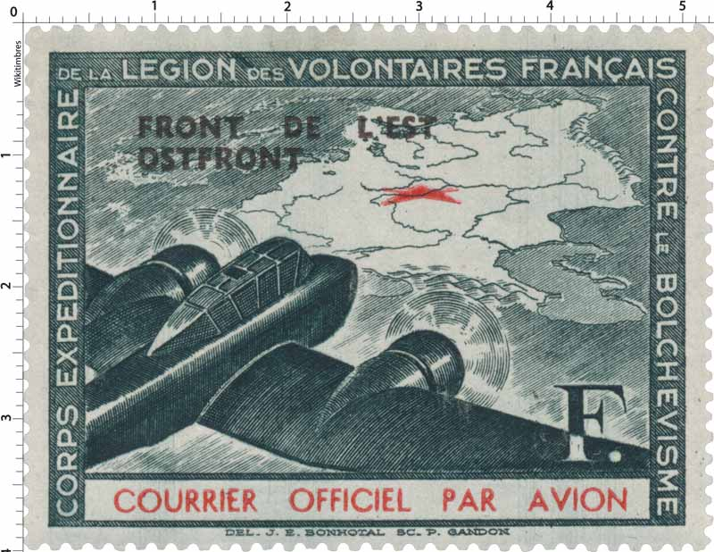 CORPS EXPÉDITIONNAIRE DE LA LÉGION DES VOLONTAIRES Français CONTRE LE BOLCHEVISME Courrier officiel par avion