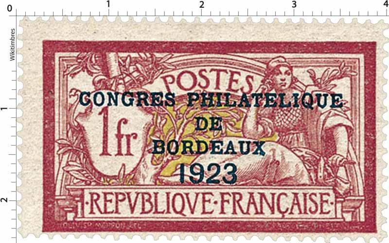CONGRES PHILATÉLIQUE DE BORDEAUX 1923 - type Merson