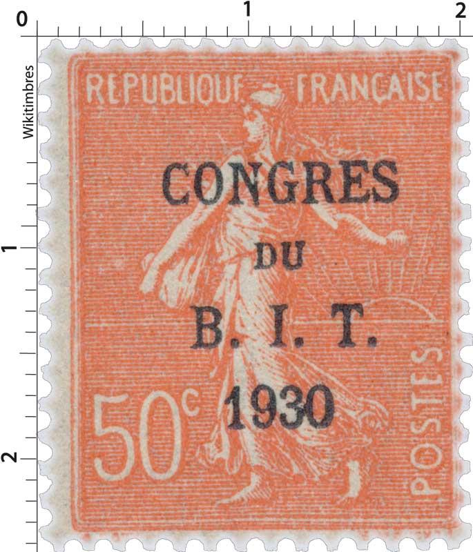 CONGRES DU B.I.T. 1930 - type semeuse lignée / surchargé