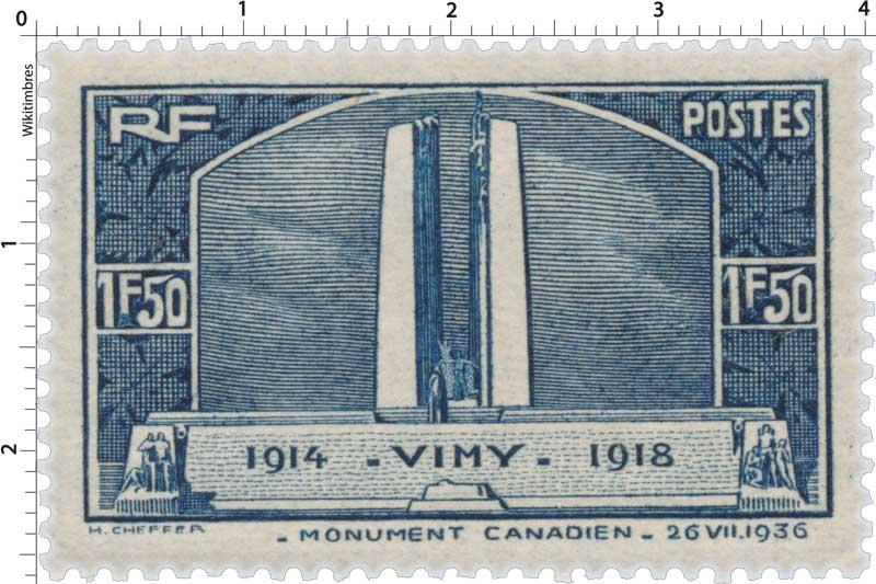 VIMY 1914-1918 - MONUMENT CANADIEN - 26 VII 1936