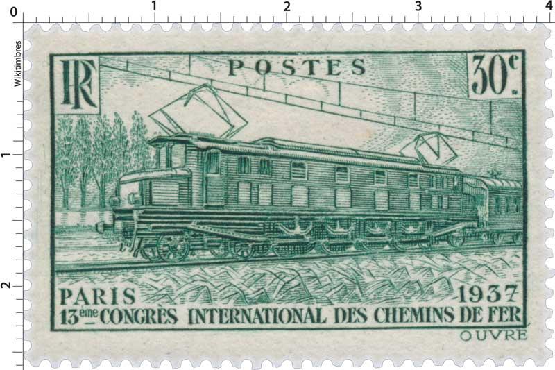 PARIS 1937 13ème CONGRÈS INTERNATIONAL DES CHEMINS DE FER