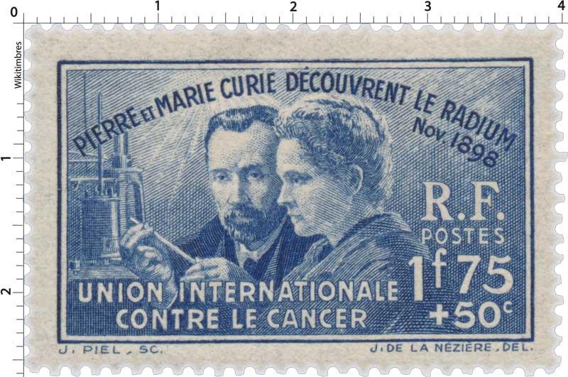 Timbre : PIERRE ET MARIE CURIE DÉCOUVRENT LE RADIUM Nov.1898 UNION ...