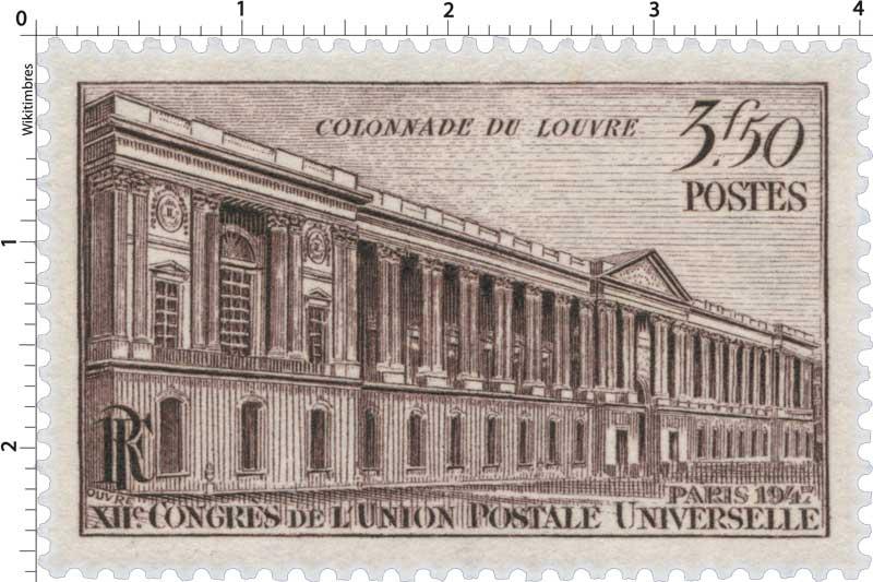 COLONNADE DU LOUVRE PARIS 1947 XIIe CONGRÈS DE L'UNION POSTALE UNIVERSELLE