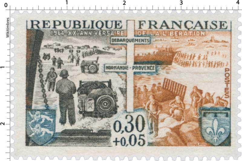 1964- XXe ANNIVERSAIRE DE LA LIBÉRATION DÉBARQUEMENTS NORMANDIE-PROVENCE