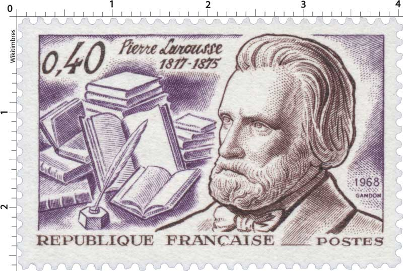 Timbre : 1968 Pierre Larousse 1817-1875 | WikiTimbres