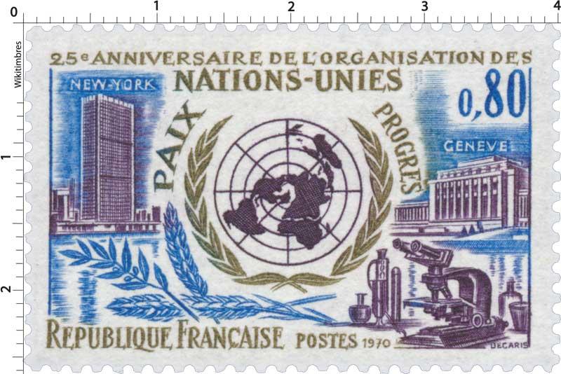 1970 25e ANNIVERSAIRE DE L'ORGANISATION DES NATIONS-UNIES PAIX PROGRÈS NEW-YORK GENÈVE