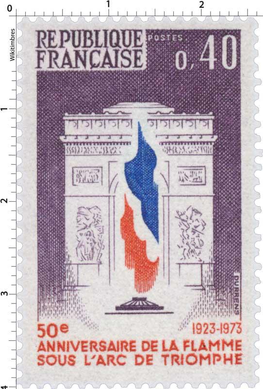 50e ANNIVERSAIRE DE LA FLAMME SOUS L'ARC DE TRIOMPHE 1923-1973