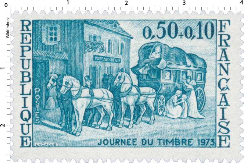 JOURNÉE DU TIMBRE 1973 POSTE AUX CHEVAUX