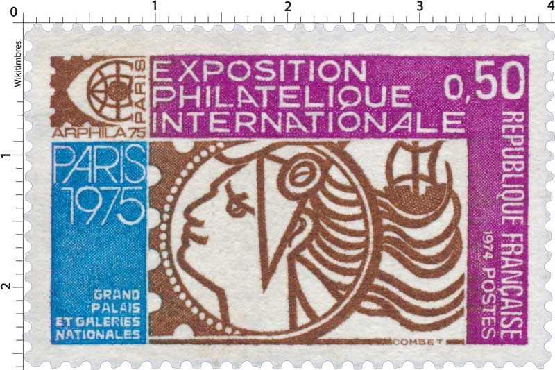 1974 EXPOSITION PHILATÉLIQUE INTERNATIONALE ARPHILA 75 PARIS 1975 GRAND PALAIS ET GALERIES NATIONALES