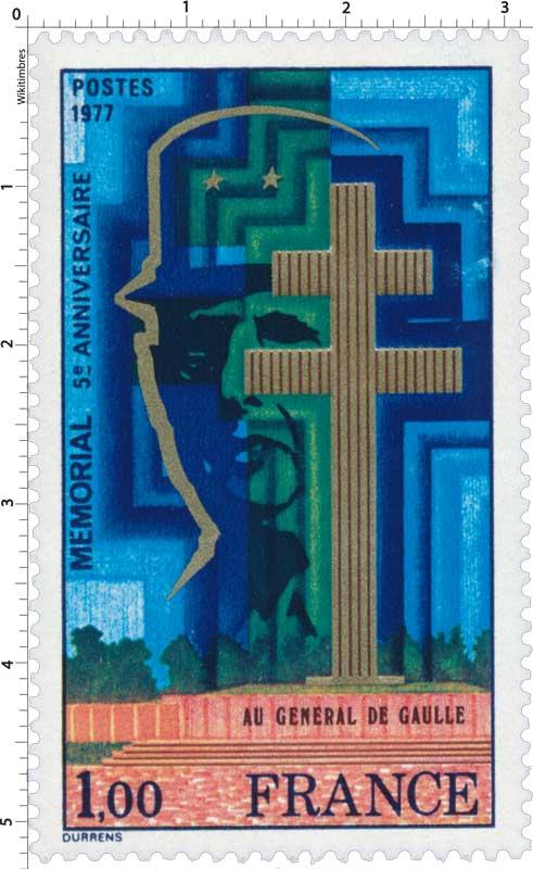 1977 MÉMORIAL 5e ANNIVERSAIRE AU GÉNÉRAL DE GAULLE