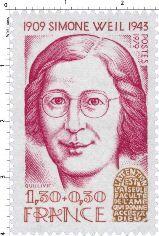 Timbre 1979 simone weil 1909 1943 l 39 attention est la for Bureau de poste paris 13 simone weil