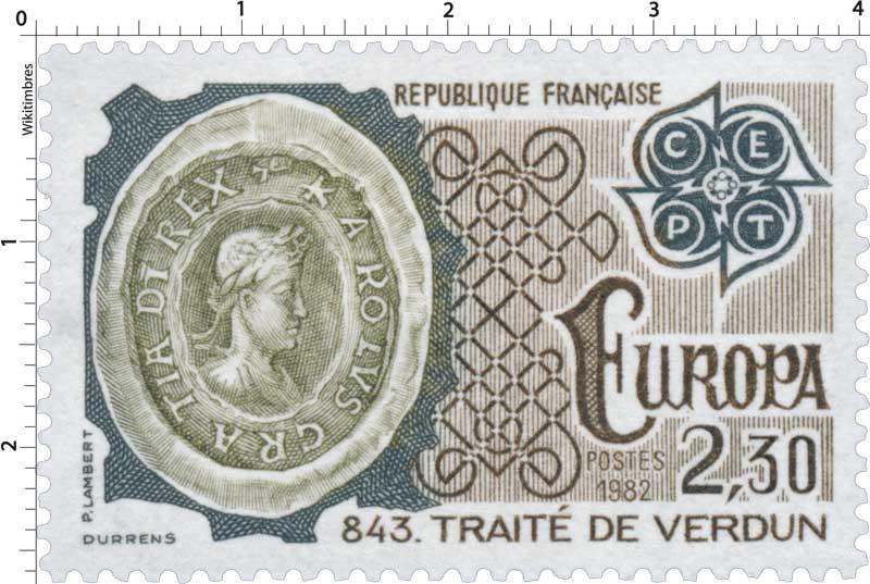 1982 EUROPA CEPT 843. TRAITÉ DE VERDUN KAROLUS CRATIA DI REX