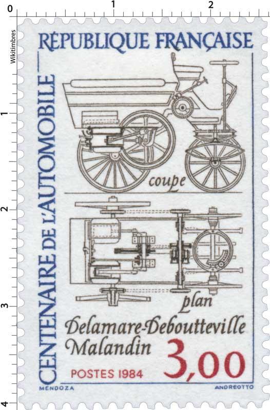 1984 CENTENAIRE DE L'AUTOMOBILE Delamare-Deboutteville Malandin coupe-plan