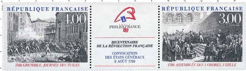 PHILEXFRANCE 89 BICENTENAIRE DE LA RÉVOLUTION FRANÇAISE CONVOCATION DES ÉTATS GÉNÉRAUX