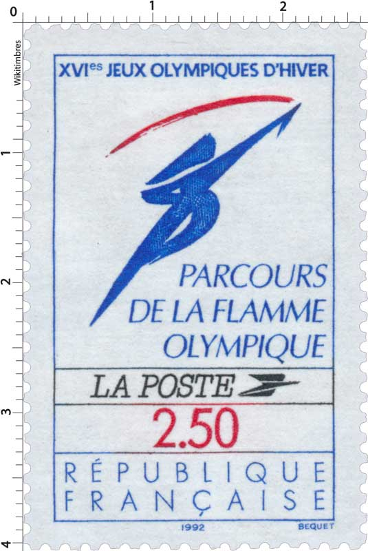 XVIes JEUX OLYMPIQUE D'HIVER PARCOURS DE LA FLAMME OLYMPIQUE