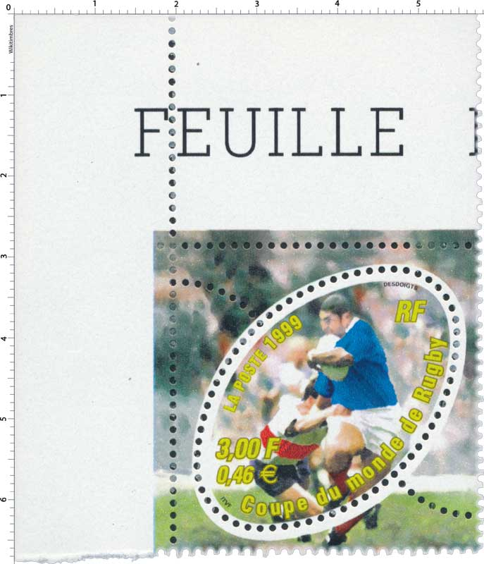 Timbre 1999 coupe du monde de rugby wikitimbres - Rugby coupe du monde 1999 ...