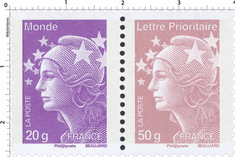 Lettre Prioritaire Monde - type Marianne de Beaujard
