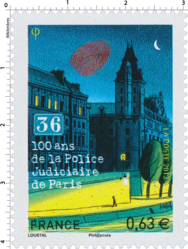 timbre 2013 100 ans de la police judiciaire de paris 36 wikitimbres. Black Bedroom Furniture Sets. Home Design Ideas