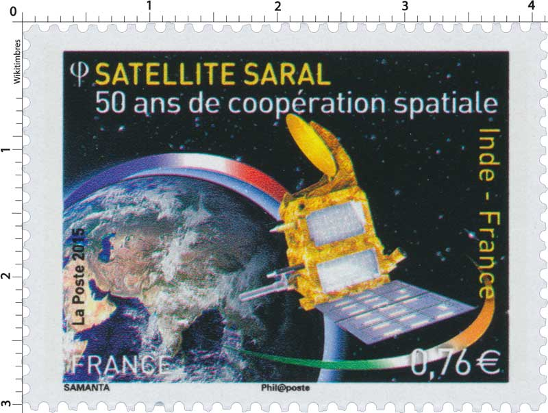 2015 Inde - France - 50 ans de coopération spatiale - Satellite Saral