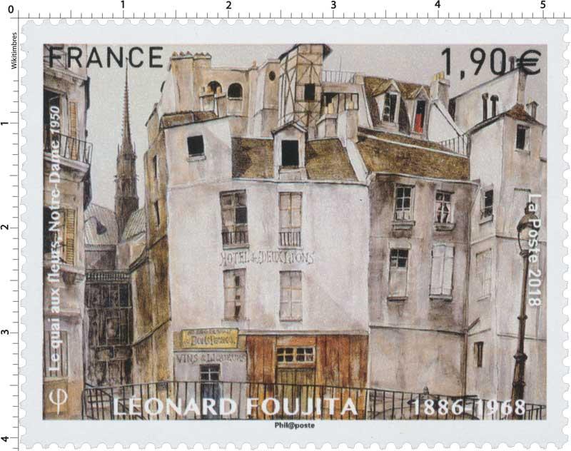 2018 LÉONARD FOUJITA 1886-1968 - Le quai aux fleurs, Notre-Dame 1950