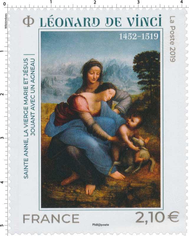 2019 Léonard de Vinci - Sainte Anne, la Vierge Marie et Jésus jouant avec un agneau 1452 - 1519