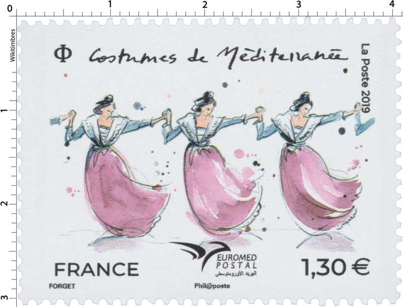 2019 Costumes de Méditerranée - EUROMED Postal