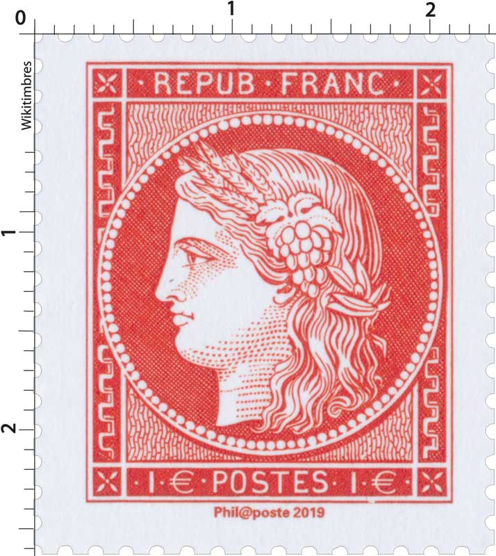 2019 Patrimoine de France - Cérès 1 franc vermillon