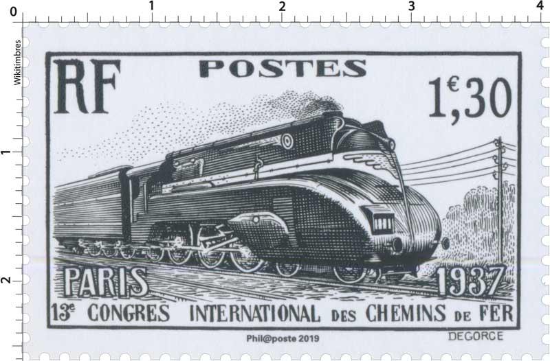 2019 Patrimoine de France - PARIS 1937 13e CONGRES INTERNATIONAL DES CHEMINS DE FER