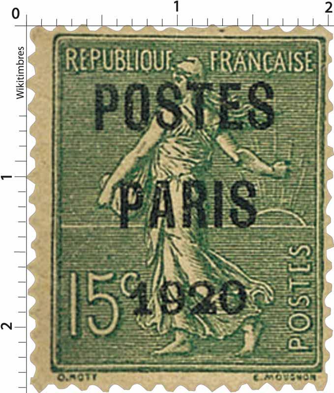 1920 POSTES PARIS - type semeuse lignée / surchargé