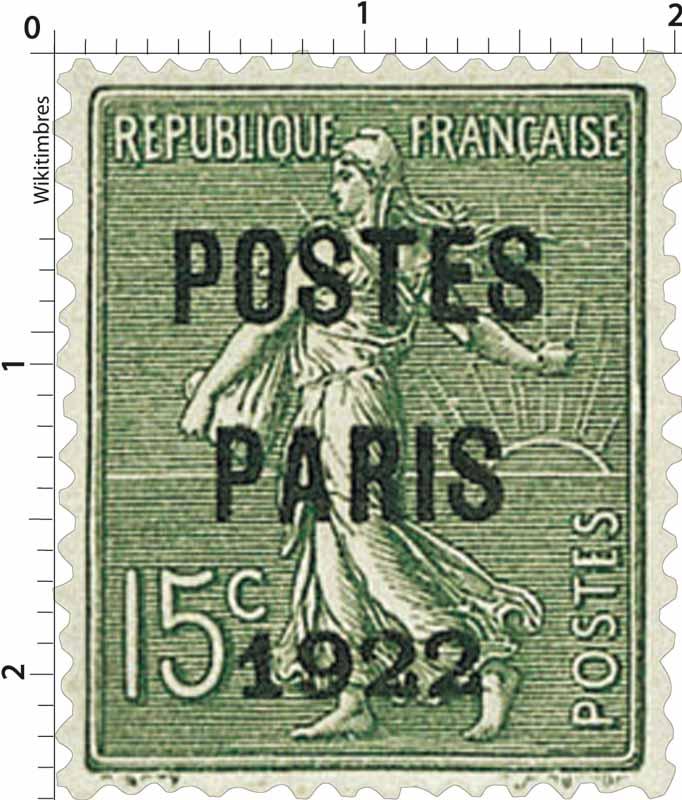1922 POSTES PARIS - type semeuse lignée / surchargé