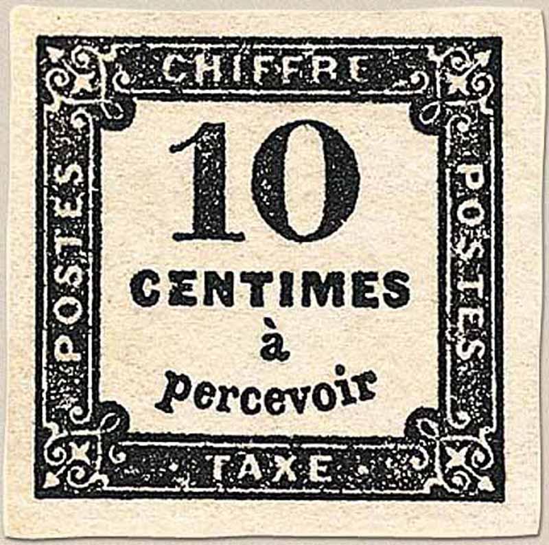 CHIFFRE TAXE 10 Centimes à percevoir