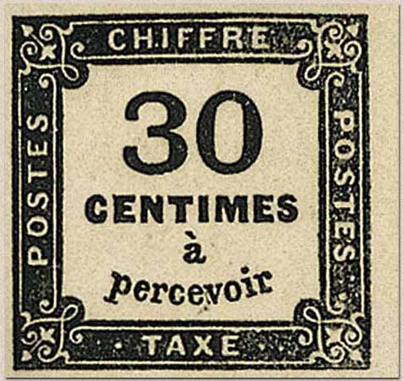 CHIFFRE TAXE 30 Centimes à percevoir