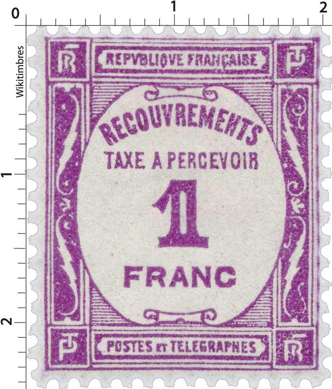 RECOUVREMENTS TAXE A PERCEVOIR 1 FRANC