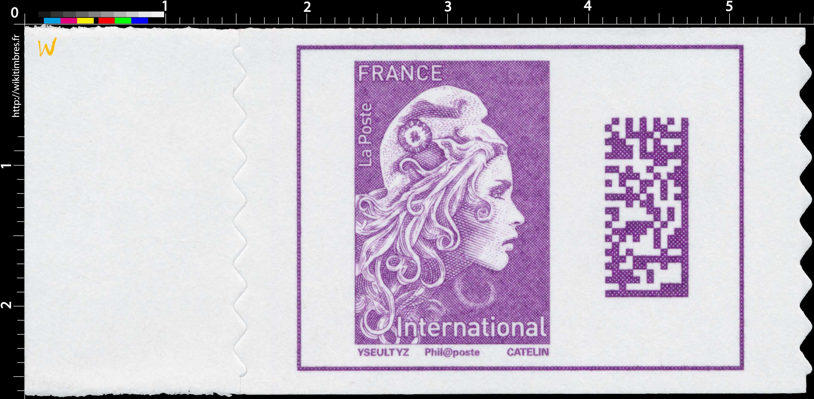 2019  Type Marianne l'engagée d'Yseult - International - Code Datamatrix
